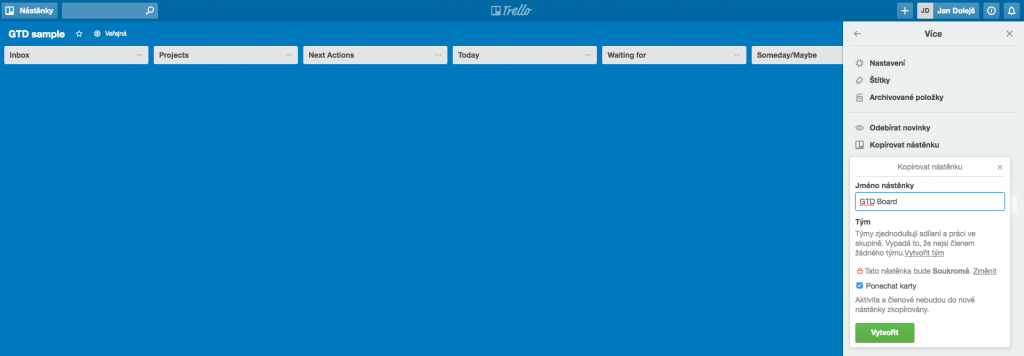 metoda GTD snadno a rychle - trello board