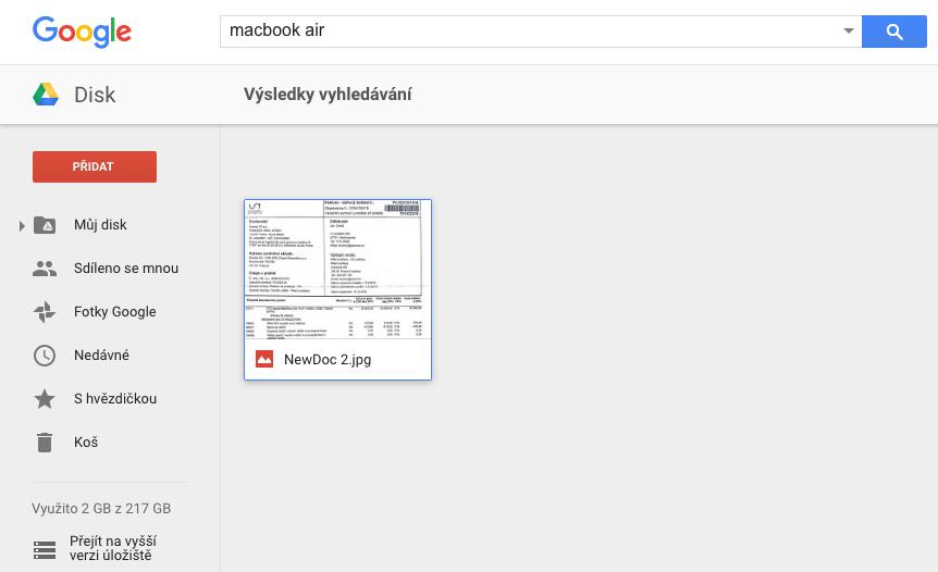 Jak skladovat uctenky - google drive 2